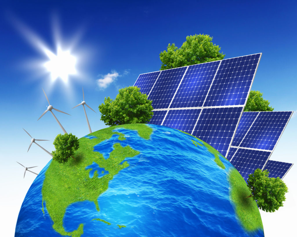Green planet earth with solar energy batteries installed on it
