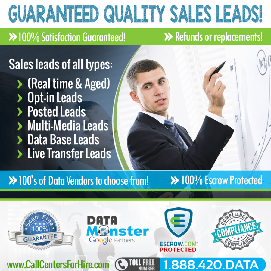Buy quality sales leads, live transfer leads and call center services all protected by escrow.