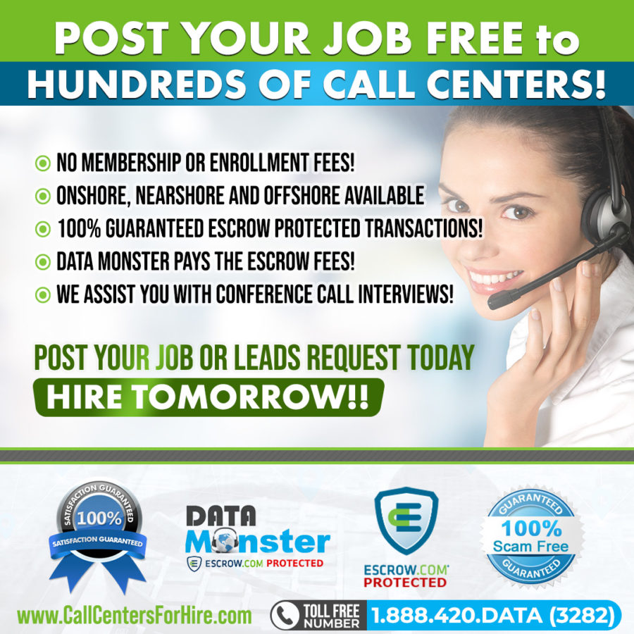Post Job to Call Centers for hire